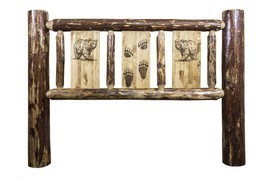 Rustic Log Headboard Carved Bear Engraved Amish Made Lodge Cabin - $539.05+
