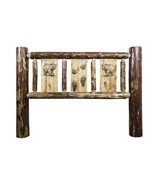 Rustic Log Headboard Carved Bear Engraved Amish Made Lodge Cabin - £429.07 GBP+