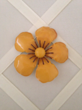 Vintage Retro Metal Yellow Enamel Flower Fashion Brooch - $35.00