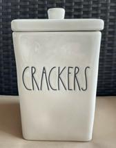 "Rae Dunn Farmhouse White Ceramic LL Square ""CRACKERS"" Canister---Brand New! - $39.99"