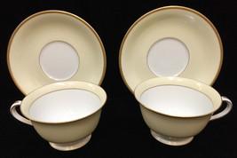 Noritake China Cup Saucer Set Monterey Pattern Yellow Gold Japan Vintage 2 Sets - $10.88