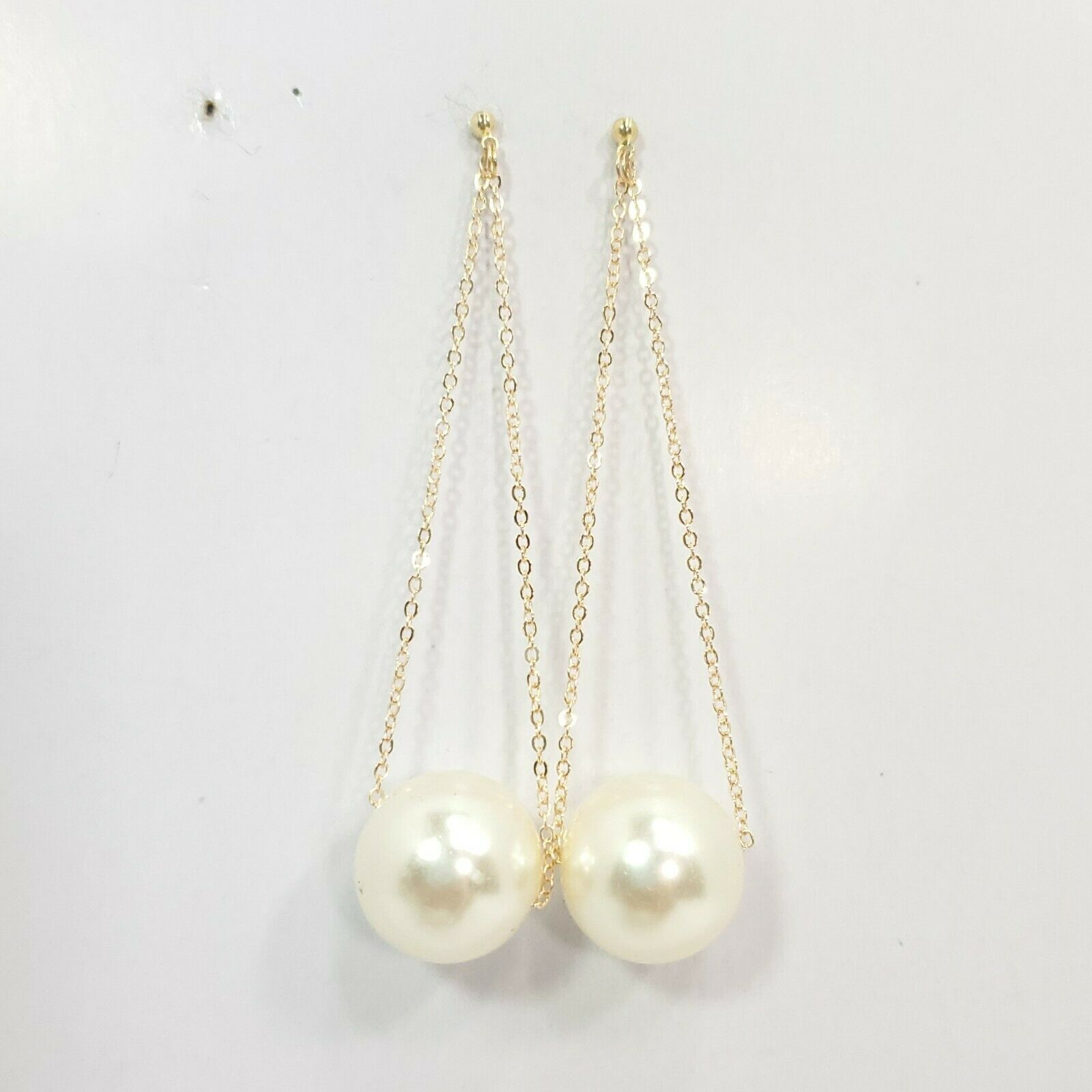 Primary image for E0287 Boho Gold Tone Based Thin Chain Pearl Accented Drop Dangle Post Earrings