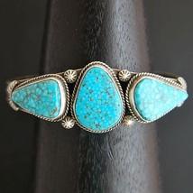Navajo Turquoise Bracelet Natural Kingman Birds Eye Sterling Cuff s6.25 ... - $829.00