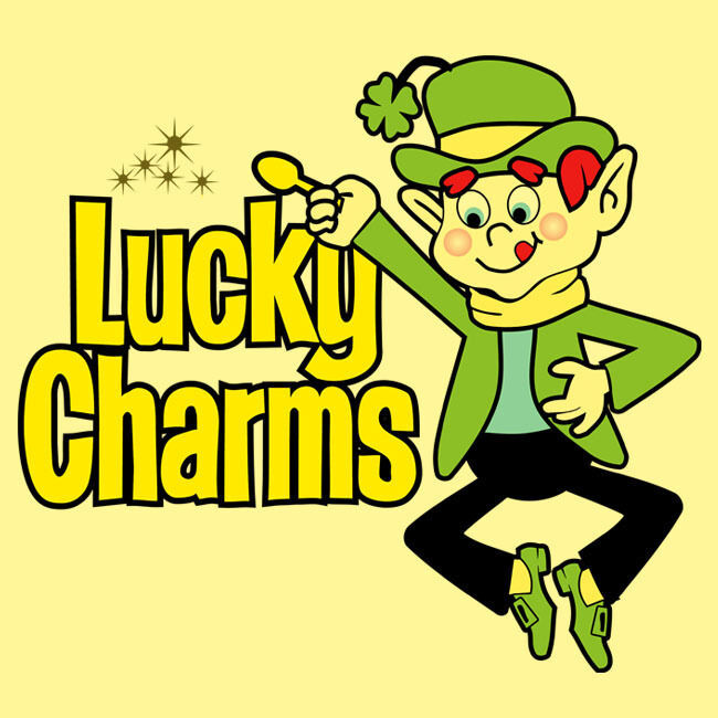 Lucky Charms T shirt classic 70s 80s cereal brand retro graphic 100% cotton tee