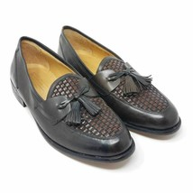 Johnston & Murphy Mens Tassel Loafers Shoes Brown Black Leather Weave 9.5 M - $32.87