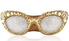 $4995 NIB Judith Leiber Couture Eyeglasses Minaudiere Clutch In Gold - £1,766.08 GBP