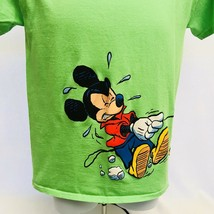 Disney T Shirt Mickey Pluto Walk Fire Hydrant Graphic Lime Green Size 12/14 EUC - $19.79