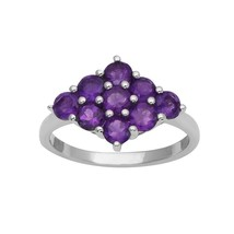 Amethyst White Rhodium 925 Sterling Silver Ring Jewelry Size-8 SHRI2412 - £15.45 GBP