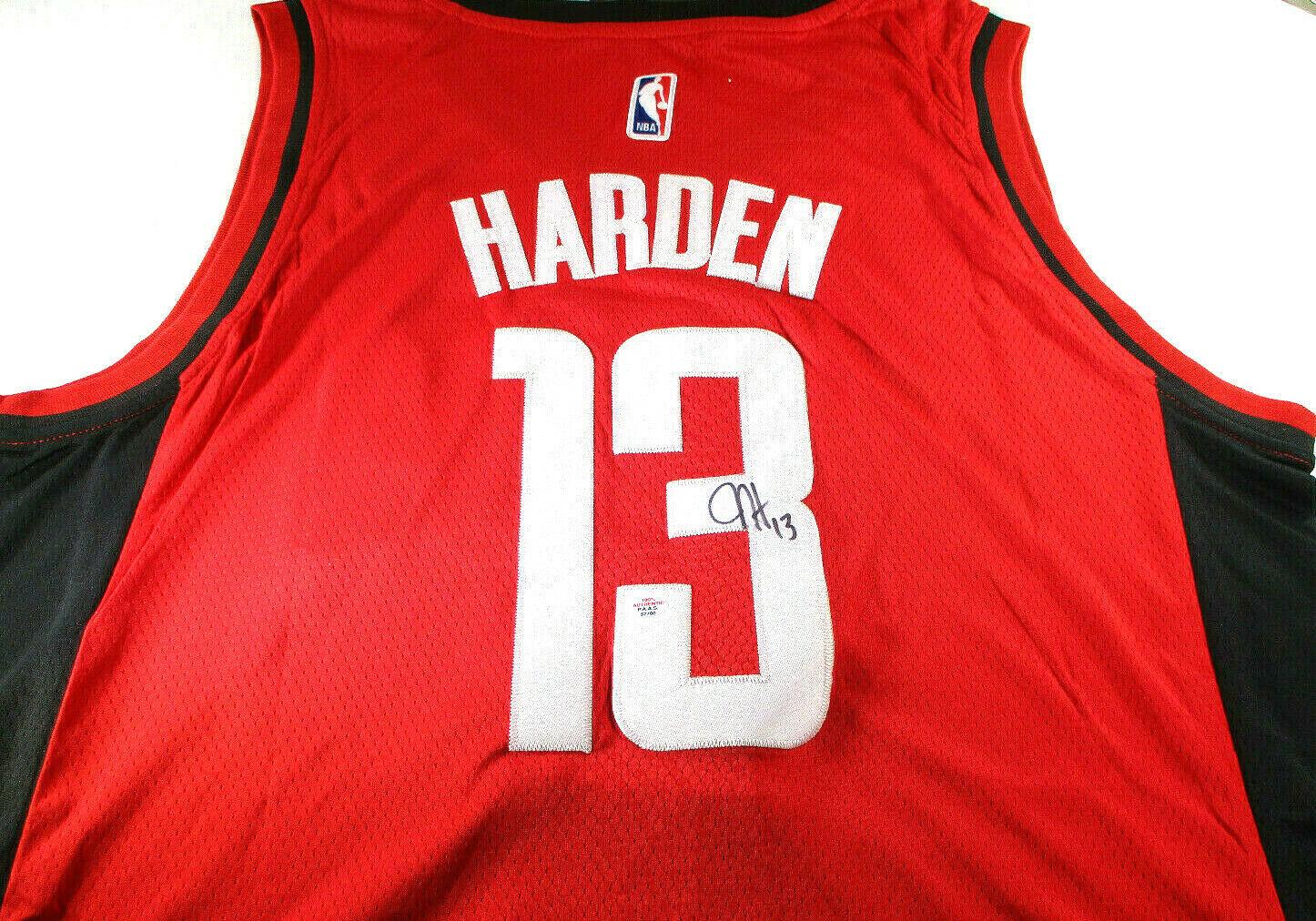 JAMES HARDEN / AUTOGRAPHED HOUSTON ROCKETS RED PRO STYLE BASKETBALL JERSEY / COA