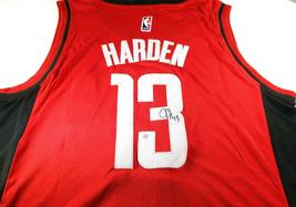 JAMES HARDEN / AUTOGRAPHED HOUSTON ROCKETS RED PRO STYLE BASKETBALL JERSEY / COA image 1