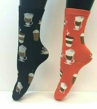 2 PAIRS Foozys Women's Socks, COFFEE Print Novelty, Cappucino Latte, NEW - $8.99
