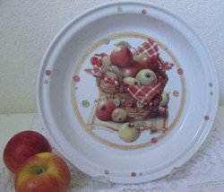"Marjolein Bastin Basket of Apples Buttons Pie Plate Dish Ceramic 1997 10"" - $10.99"