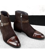 Men s high ankle brown jodhpurs rounded buckle strap genuine leather boots thumbtall