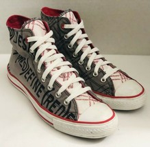 Converse All Star Product Red High Top Gray Red Canvas Sneakers M 9.5/ W... - $54.89