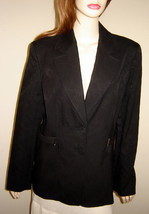 CLASSIQUES ENTIER Black Textured Stretch Cotton Jacket w/ Belted Sides (... - $97.02
