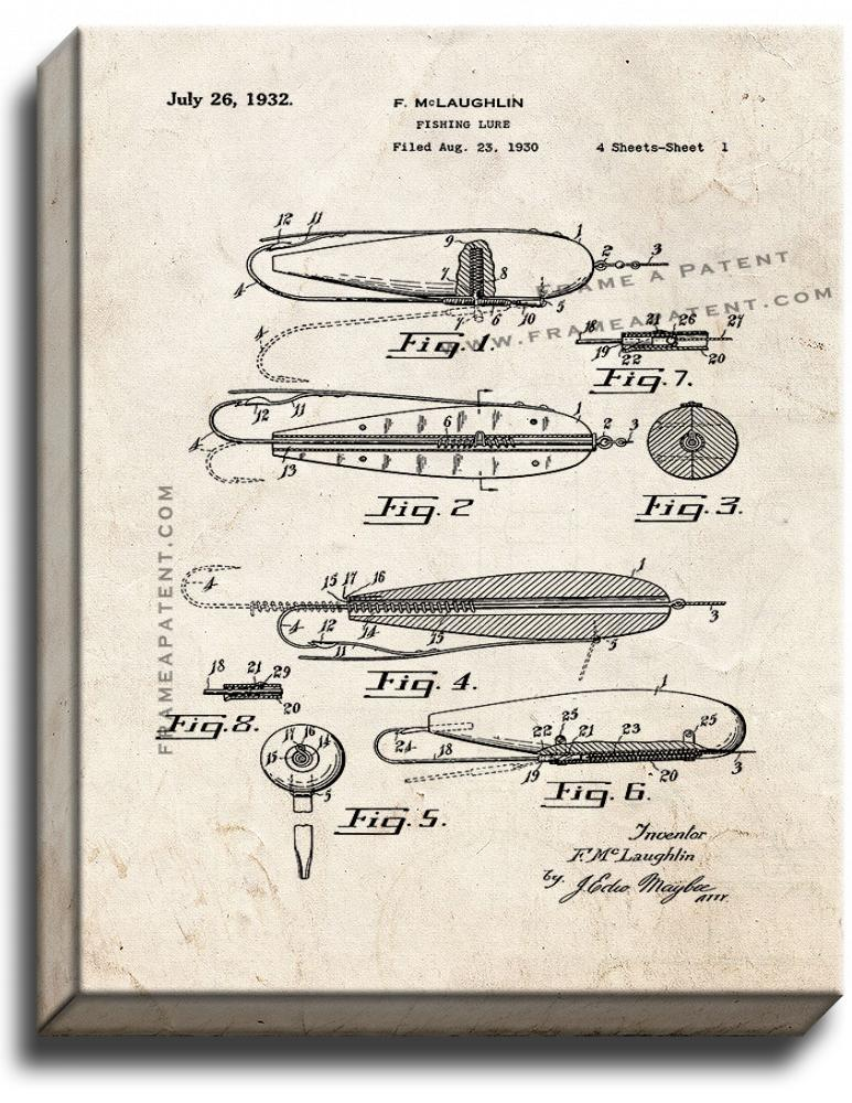 Primary image for Fishing Lure Patent Print Old Look on Canvas
