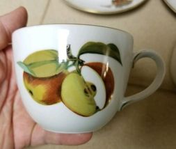 Set 2 Vintage Royal Worcester Evesham Tea Cup & Saucer England Plum Apples Plate image 7