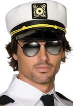 Smiffys Captains Cap Fabric PVC Peak Adult Unisex Hat Halloween Costume 122 - $10.36