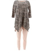 AnyBody Cozy Knit Leopard Top Legging Set Pink Sand M NEW A367656 - $44.53