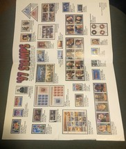 """USPS 1997 Stamp POSTER (33 Issues) Preowned Condition Approx 11"""" x 16"""" - $2.00"""