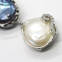 Silber Anhänger 925, Drei Perlen Barock-Stil, Schwarz, Pink, Zirkonia, Made IN image 3