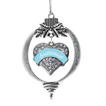 Inspired Silver Light Blue Bridesmaid Pave Heart Holiday Decoration Christmas Tr - $14.69