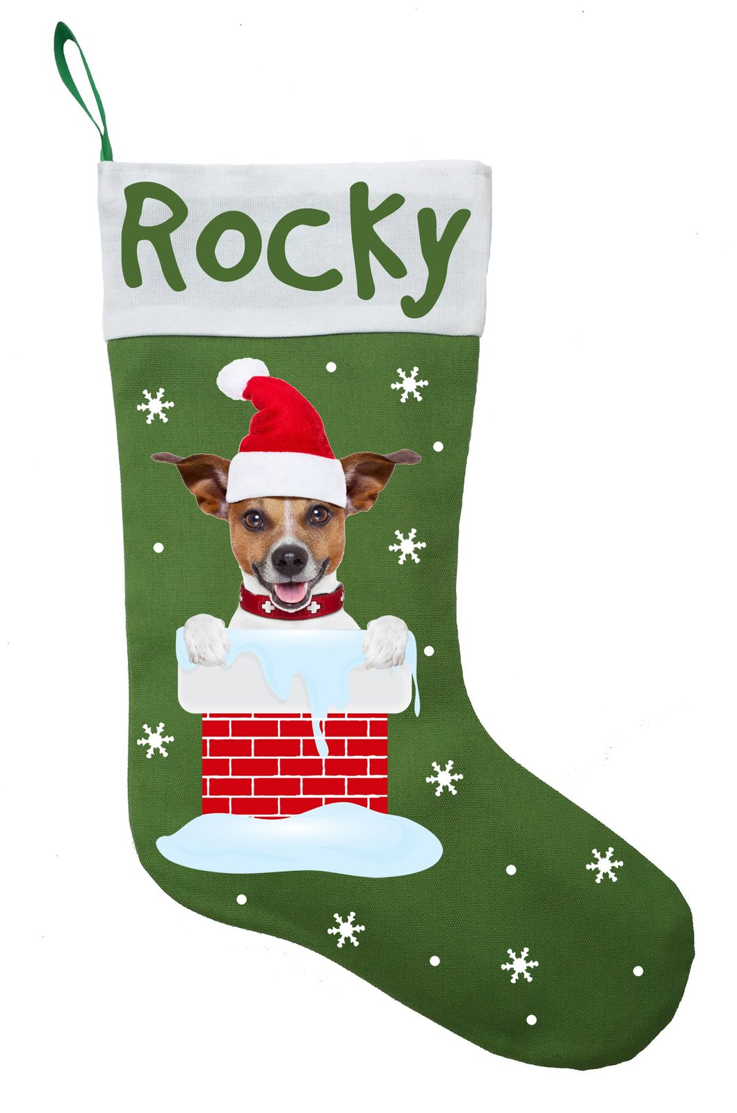 Jack Russell Terrier Christmas Stocking-Personalized Jack Russel Stocking-Green