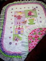 "Hand Quilted XStitched ""FROG PRINCESS"" Baby Quilt Crib Blanket add Baby'... - $179.99"
