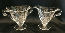 "Heisey Vintage Etched Glass Orchid Pattern Sugar & Creamer 4"" - $14.99"