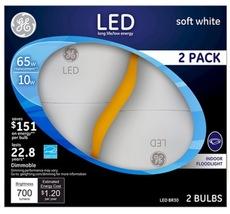 GE LED 65W Equivalent BR30 Soft White Flood Light Bulb 3 (2-Pack) = 6 Bulbs - $47.97