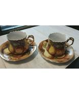 Vintage Lefton China Heritage Brown Fruit 2 Sets Tea Cup & Saucer 1950's - $37.17