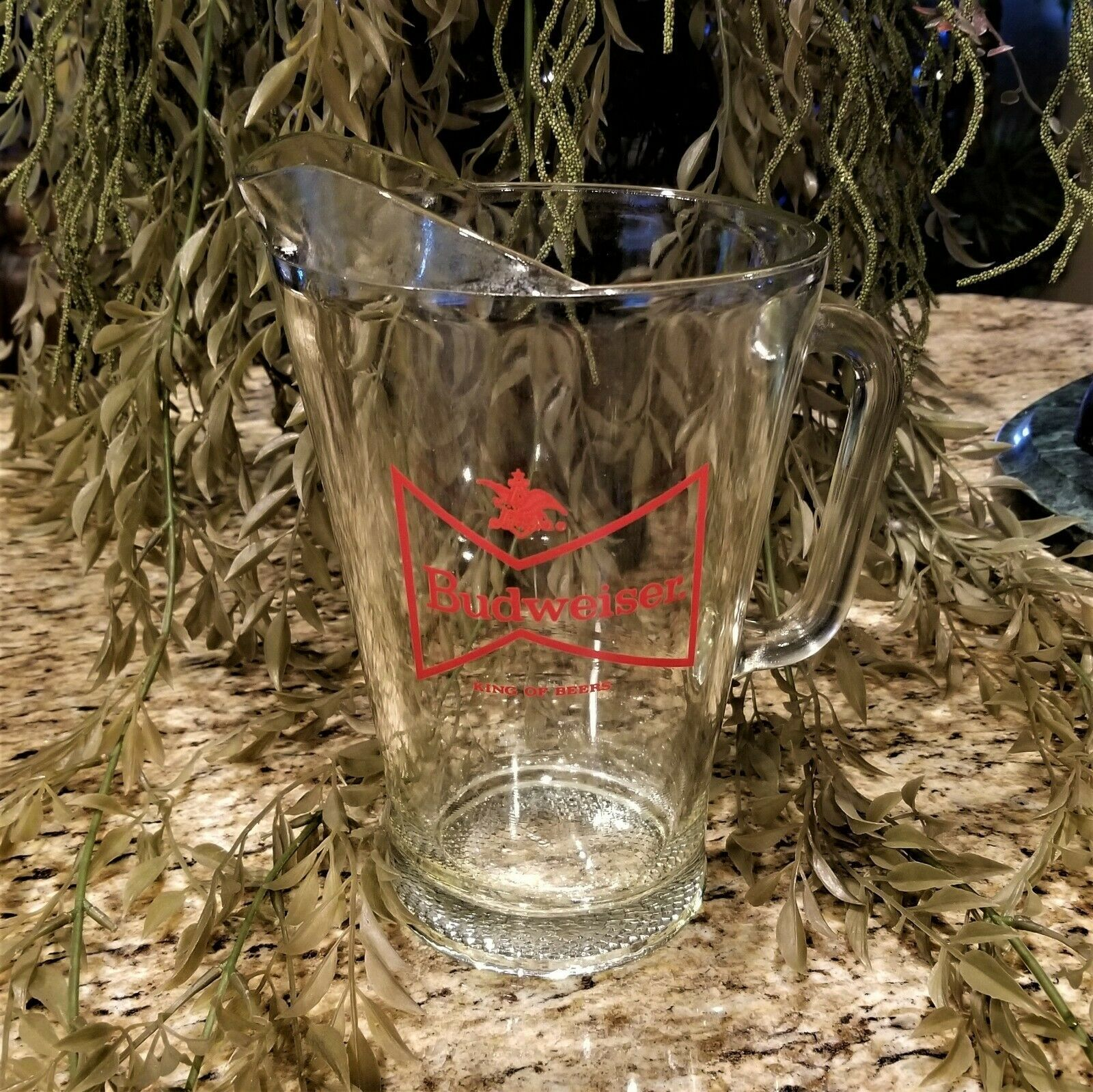 Vintage 1970's Large BUDWEISER King of Beers Heavy Glass Serving Pitcher - $22.95