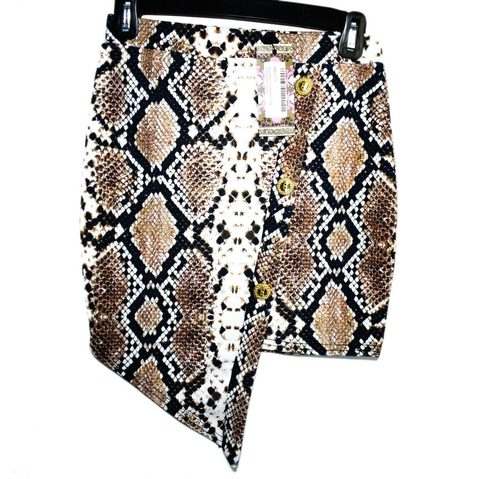 Boohoo Asymmetric Gold Tone Faux Button Snake Print Mini Skirt Size UK 8   US 4
