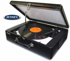 Jensen® Suitcase Record Player With Speakers  3 Speed  33 45 78  Black P... - $81.99