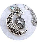 March Aries Zodiac Filigree Crescent Moon Necklace w-Swarovski Aquamarin... - $15.83