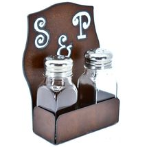 Rustic Iron Metal Cutout S&P Script Salt & Pepper Shaker Set image 5