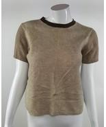 Jones New York Womens Petite Size Small Tan Brown 100% LambsWool Blouse EUC - $13.09