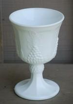 Old Vintage Harvest Milk Glass Water Goblet by Colony Grape & Leaf Pattern - $9.89