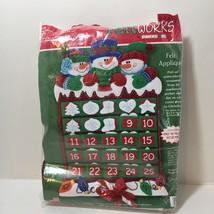 "Snow Friends Advent Calendar Kit Feltworks Dimensions 15"" x 23"" Opened A... - $29.02"