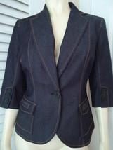 Ann Taylor Loft Petites Blazer 8P Dark Wash Blue Denim Stretch New no tag - $39.58
