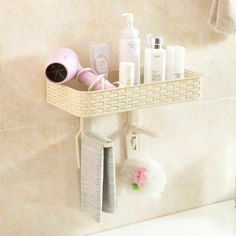 Wall Mounted Plastic Storage Rack Suction Bathroom Kitchen Shelf Basket Holder image 10