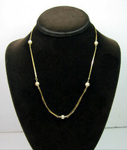 Napier GLASS Faux PEARLS Beads NECKLACE Vintage Double Goldtone Choker C... - $12.99