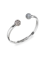 CZ by Kenneth Jay Lane Pavé Cubic Zirconia Ball Open Cuff Silver Bracele... - $183.15