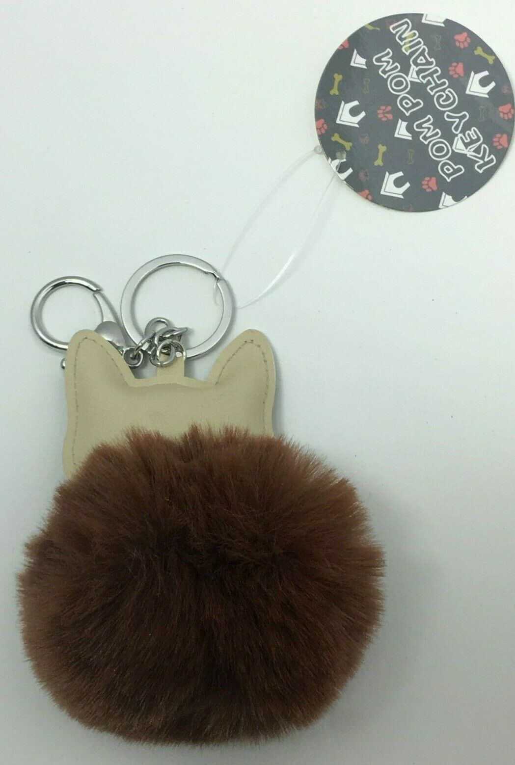 Royal Deluxe Accessories Brown Pom Pom Dog Keychain, Free Shipping