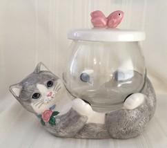 VINTAGE TREASURE CRAFT CAT HOLDING GOLD FISH BO... - $19.79
