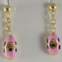 18K YELLOW GOLD PENDANT CHILD KIDS EARRINGS GLAZED PINK CAR CARS MADE IN ITALY image 1