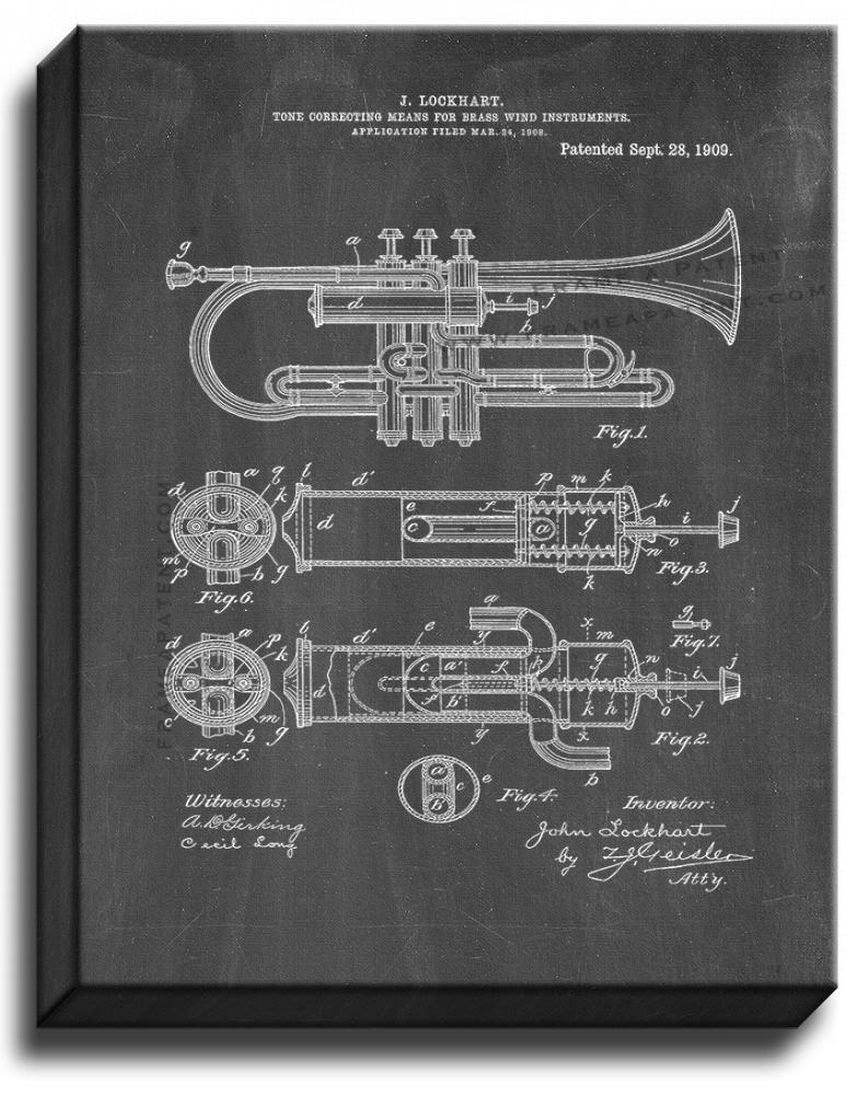 Primary image for Brass Horn Patent Print Chalkboard on Canvas
