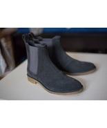 Handmade Men Dark gray Suede Chelsea boots, Men gray suede casual ankle ... - $179.99