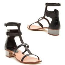 BCBG Maxazria Black Leather Ankle Strap Chunky Block Heel Sandals Gladiator 6.5 - $49.95