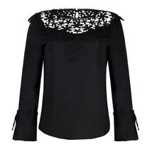 Lace Embroidery Wrist Tie Blouse - $14.80